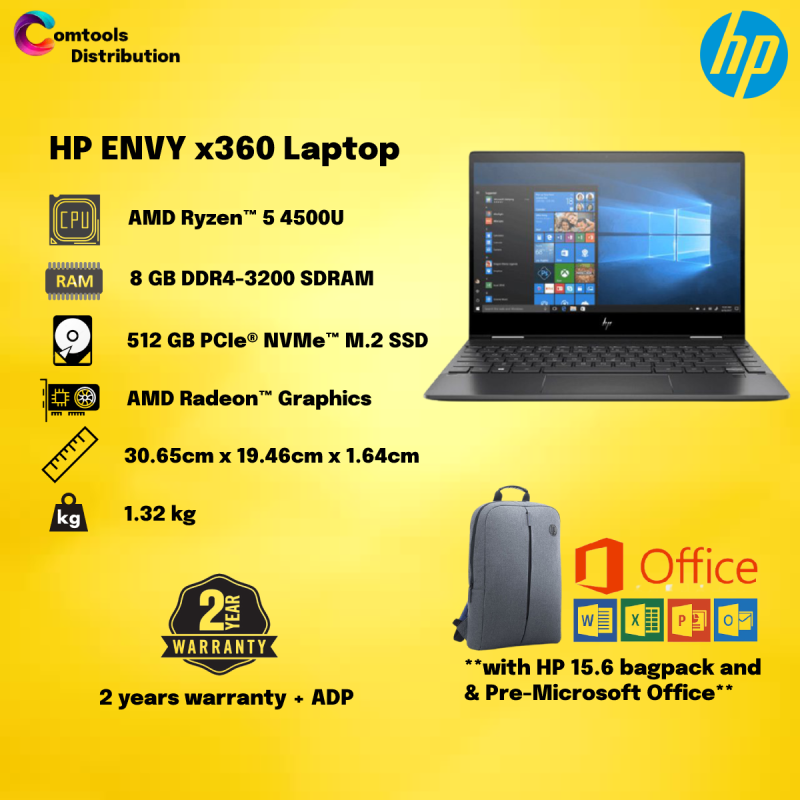 NEW HP ENVY x360 13-ay0043AU 13.3 FHD Touch Screen 2 in 1 (AMD Ryzen 5 4500U, 512GB SSD, 8GB, AMD Radeon Graphics, W10H) - Night Fall Black [FREE] HP Backpack + HP Active Pen + Microsoft Office Home & Student Malaysia