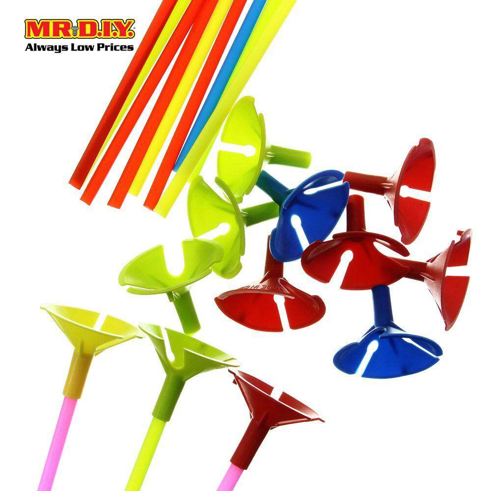 Plastic Balloon Sticks With Cups Random Color (12 Pcs) By Mr Diy.
