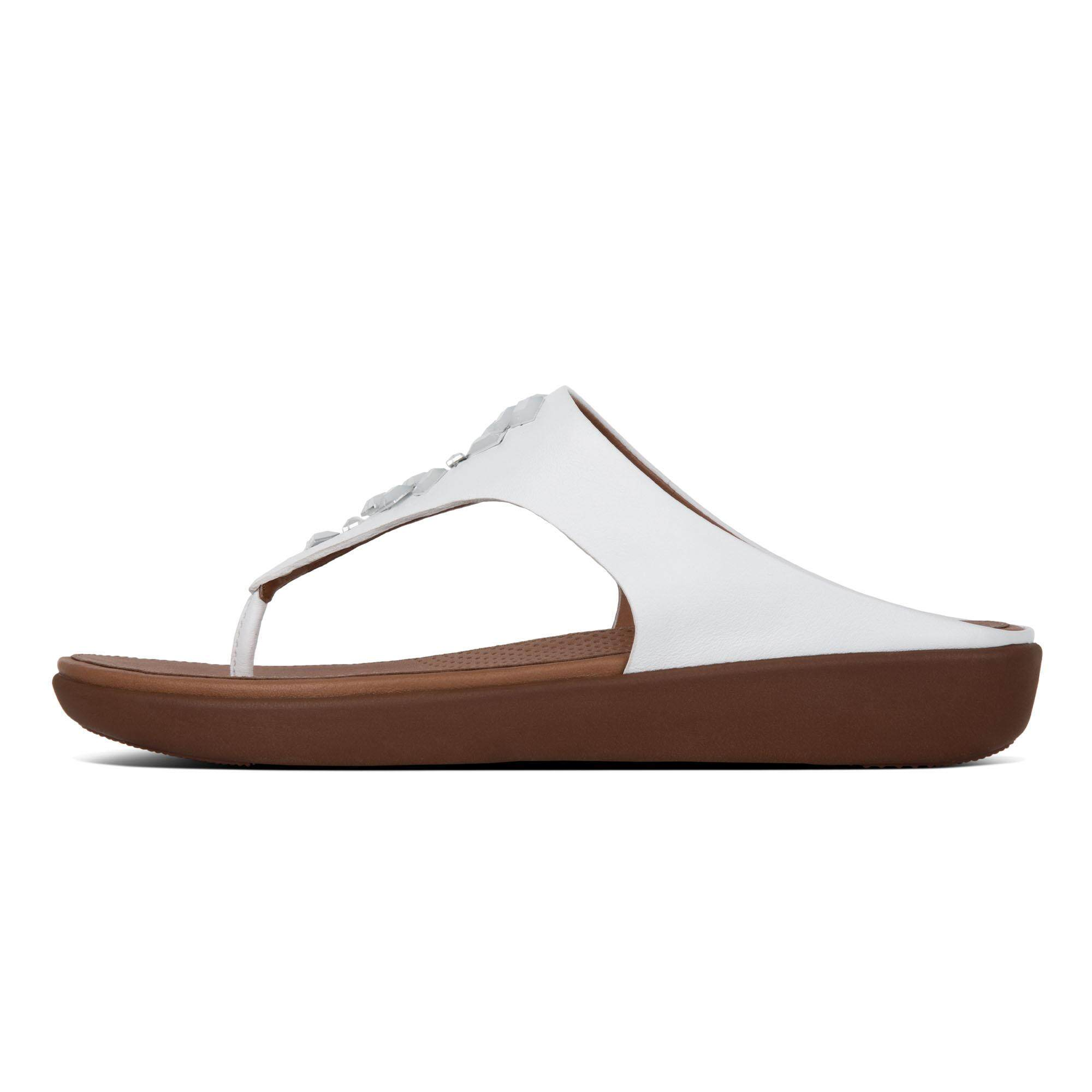 90c81cff79ce2 Fitflop-Banda Leather Toe-Thong-Crystal-Urban White-US 7