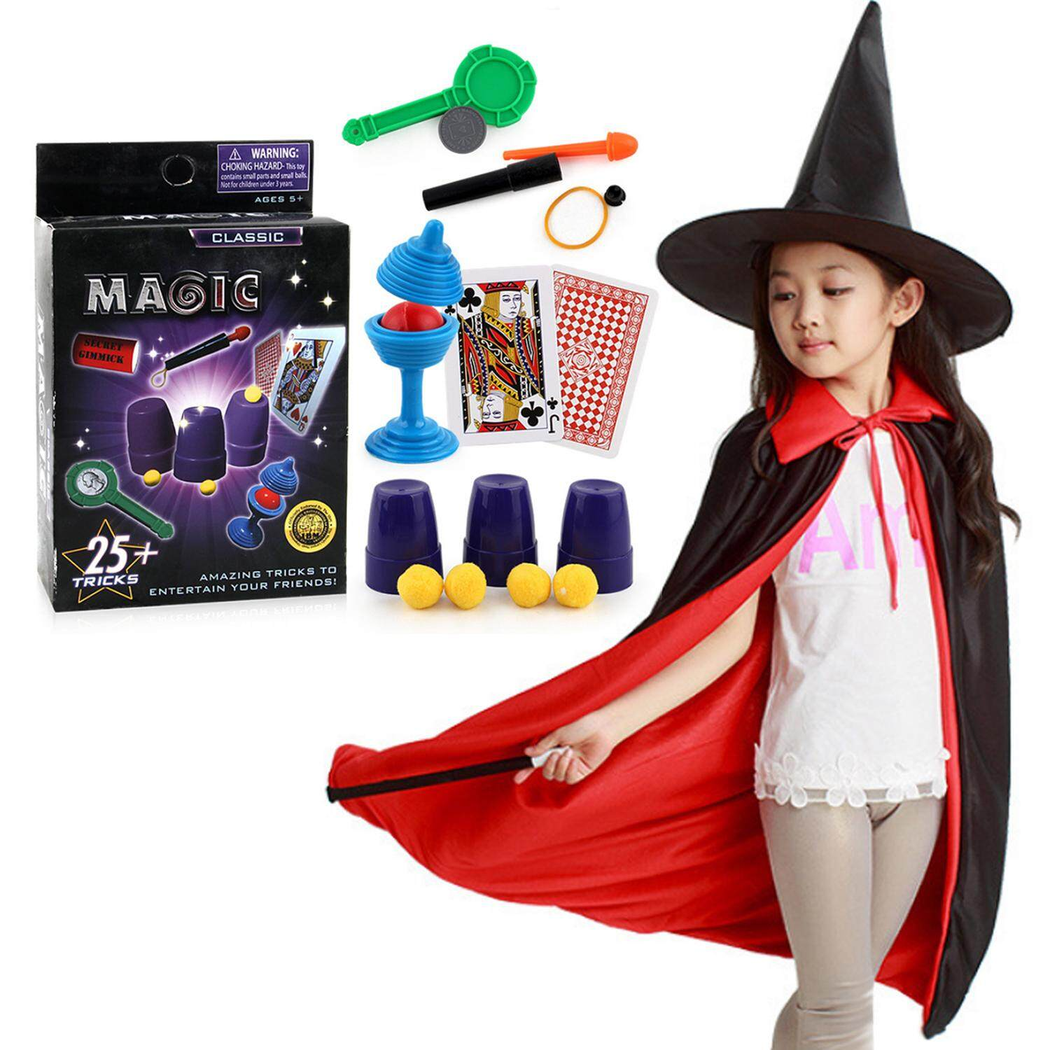 3PCS Funny Magician Role Playing Costume with Hat Cloak Wand + 1 Set Magic Props for Kids Children Halloween School Opens Party Gifts