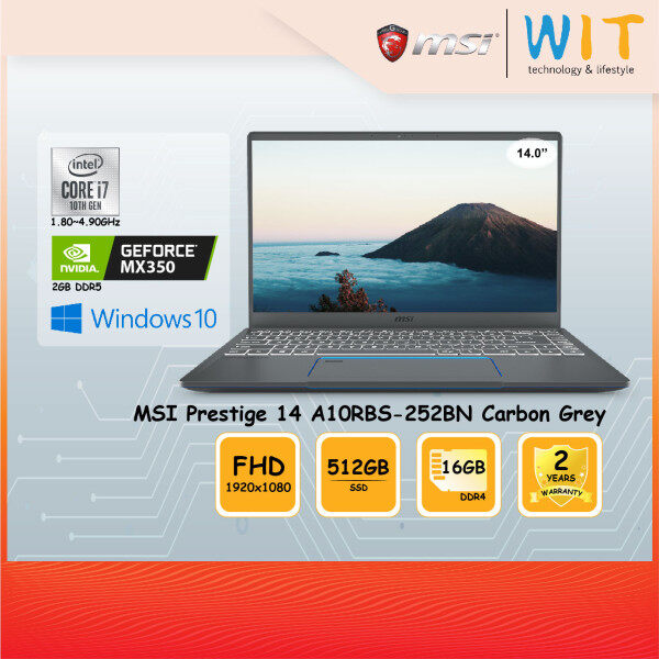 MSI Prestige 14 A10RBS-252BN Laptop A10RBS-252BN Carbon Grey/Intel Core i7-10510U 1.80~4.90GHz/16GB DDR4/512GB SSD/14.0FHD/NVIDIA MX350 2GB DDR5 Malaysia