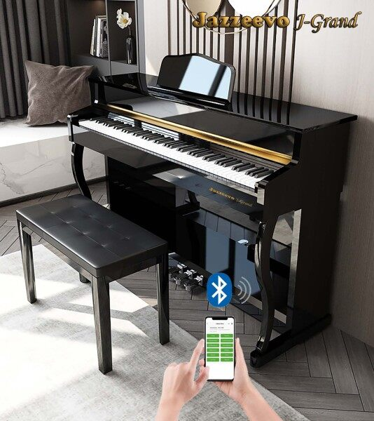 Exam/Master Grade High Level Jazzeevo J-Grand JG-55 88 Keys Digital Piano Fully Weighted Full Size Key Heavy Hammer Action Weighted Touch Keys Bluetooth APP Operate Digital Piano With Mobile Device Exam Touch Shinning Polished Paint Malaysia