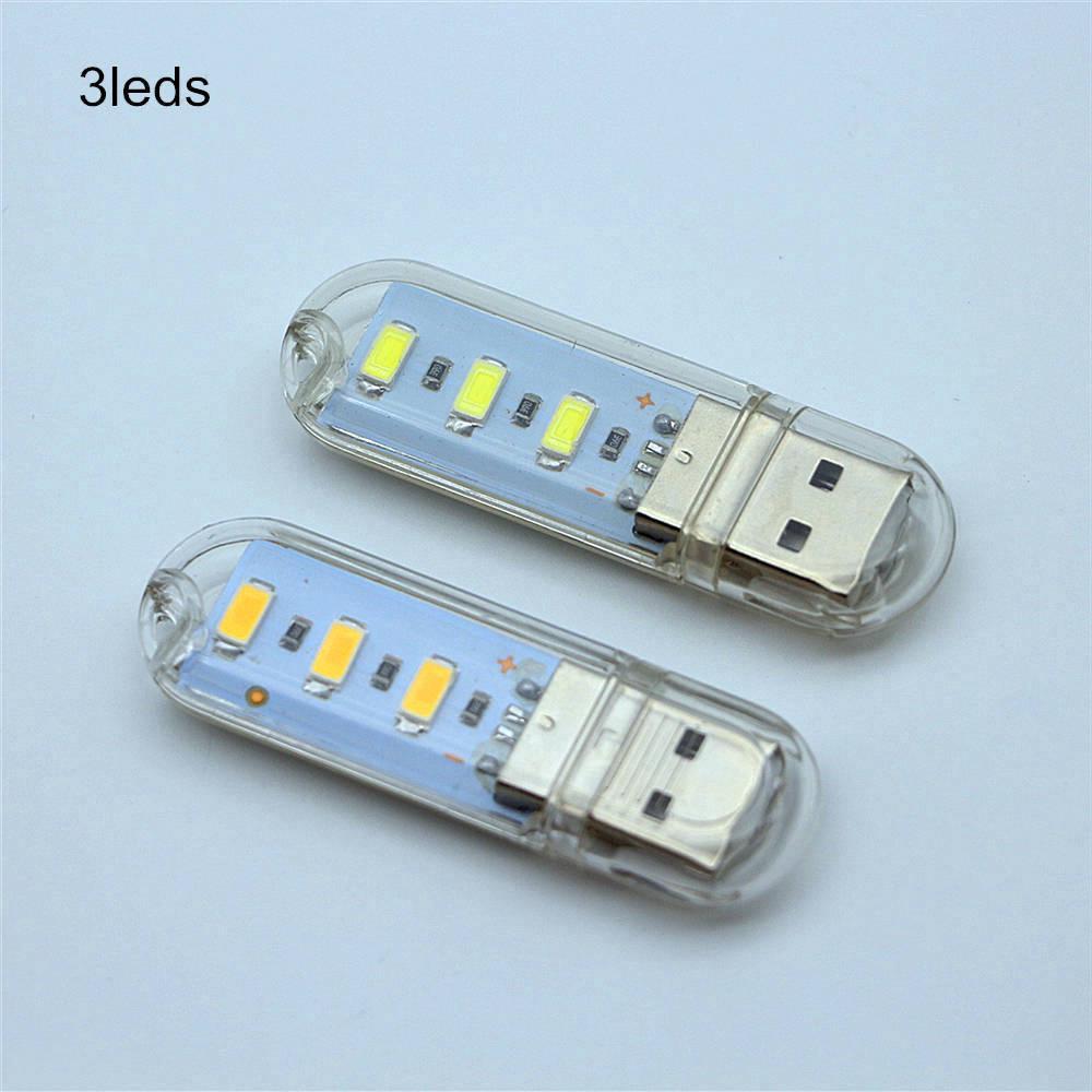 Mini USB LED Ánh Sáng 3 Đèn LED Hoặc 8 LED Ánh Sáng Trắng Ánh Sáng Ấm Áp Đèn Đèn Bàn Cuốn Sách Đèn Đọc Sách Cắm Trại Bóng Đèn đối Với Ngân Hàng Điện Máy Tính Xách Tay Máy Tính