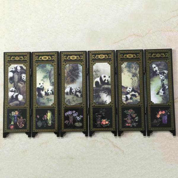 6 Panel Mini Folding Screen Tabletop Wooden Chinese Art Screens Home Decor Gift