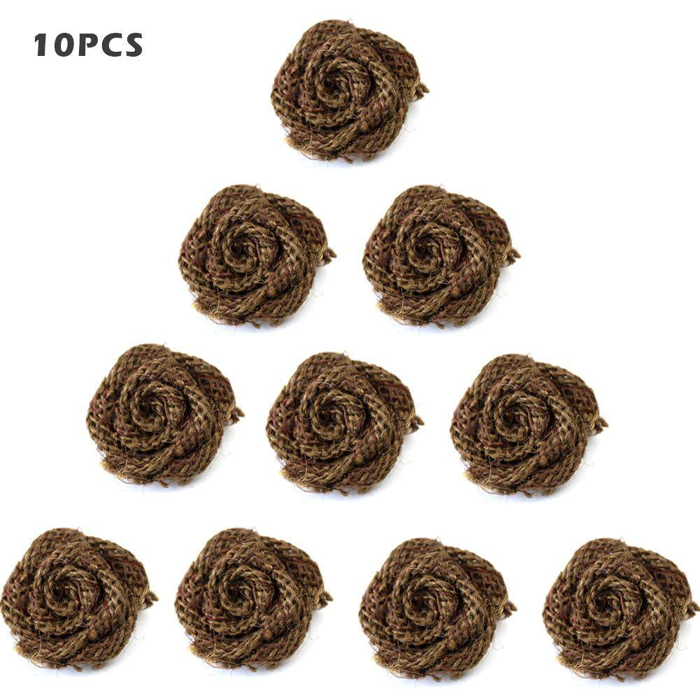 10 PCS DIY Handmade Natural Burlap Rose Cloth Flower Clothing Shoes Hat Accessories Wedding Party Decoration