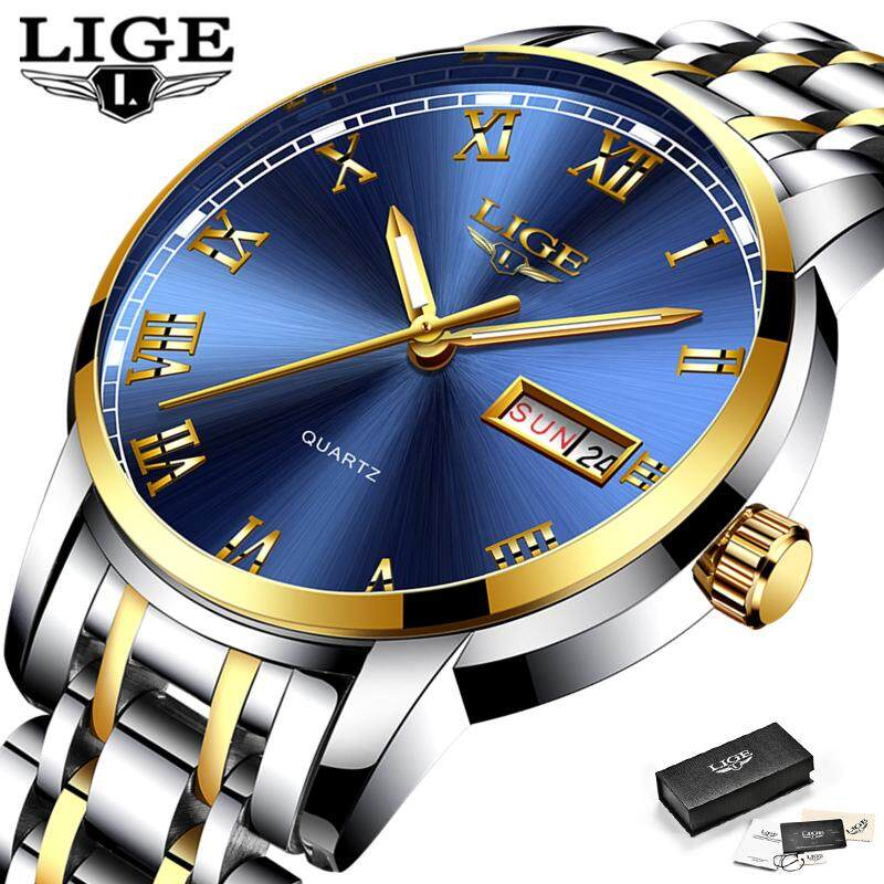 LIGE Men Watches Fashion Sports Stainless Steel Auto Calendar Analog Quartz Waterproof Jam Tangan Lelaki Malaysia
