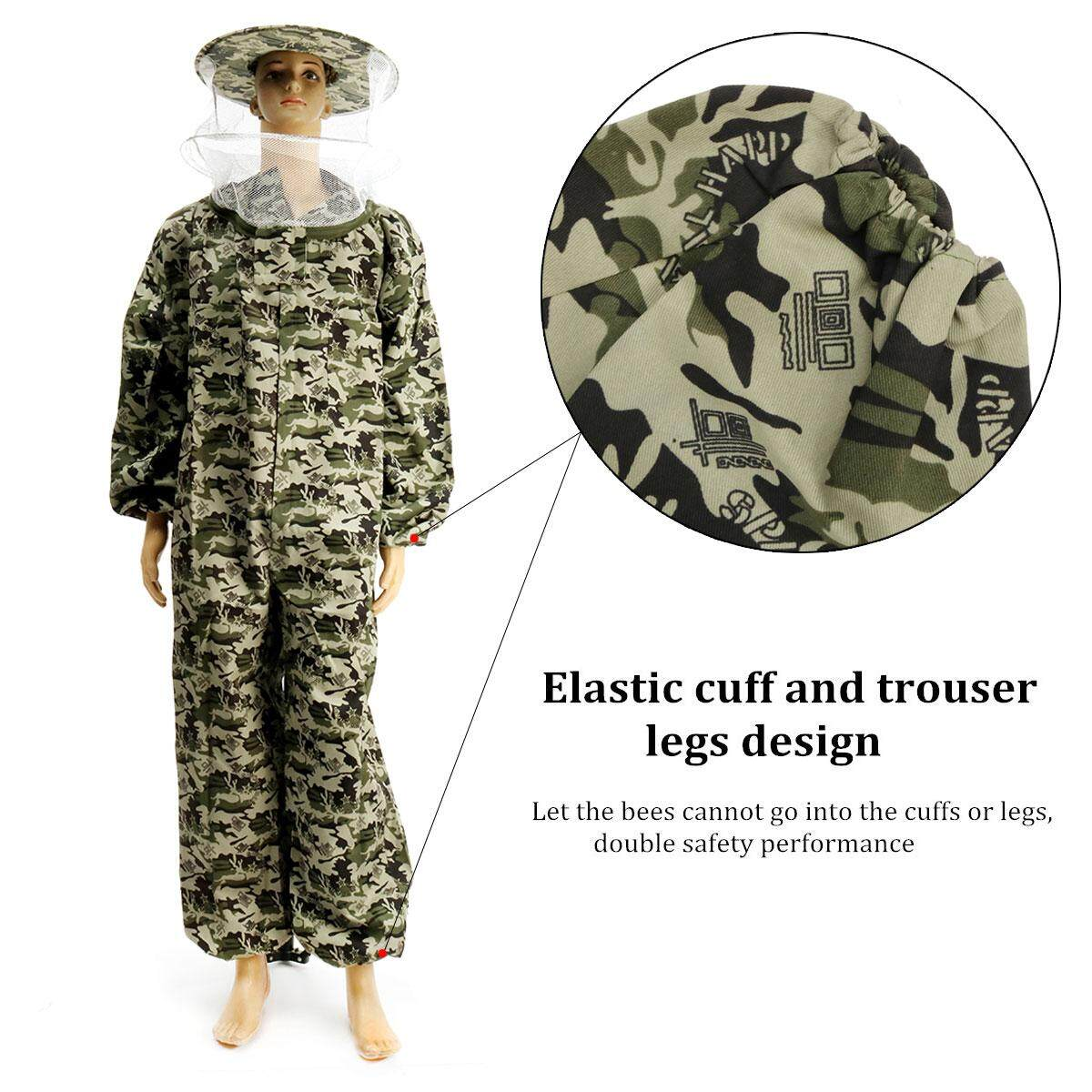 【Free Shipping + Flash Deal】Beekeeping Protective Equipment Veil Bee Keeping Suit Hat Smock Full Body Camo