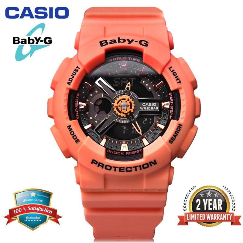 Original Baby G BA-111-4A2 Women Sport Watch Duo W/Time 100M Water Resistant Shockproof and Waterproof World Time LED Light Girl Wrist Sports Watches with 2 Year Warranty BA111/BA-112 Malaysia