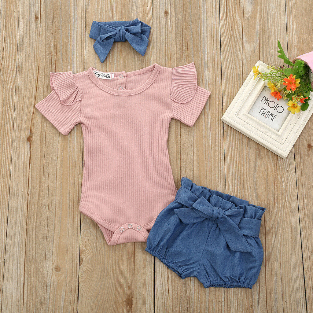 Toddler Newborn Baby Girl Tops Romper Bowknot Denim Pants 3Pcs Outfits Clothes