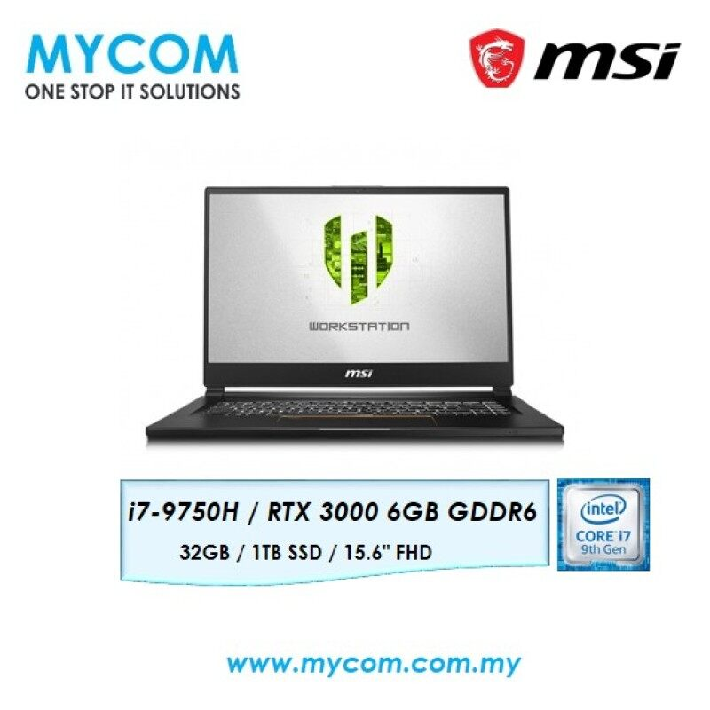 MSI WS65 9TK-1097MY 15.6  Workstation Laptop/ Notebook (i7-9750H, 32GB, 1TB, NV RTX3000, W10P) Malaysia