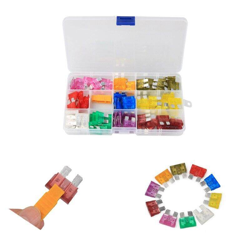 100pcs 3A 5A 7.5A 10A 15A 20A 25A 30A 35A 40A Standard Blade Car Fuses Car Blade Fuse Auto Boat Motorcycle Fuse Assortment kit