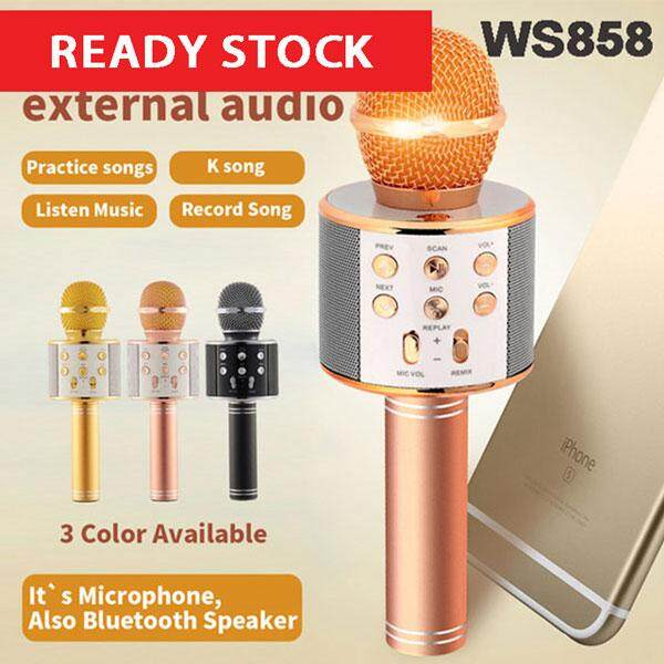 WS-858 Portable Bluetooth Handheld Wireless Mic Microphone with Speaker Button Record TF Card