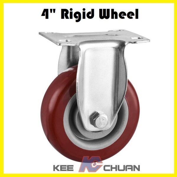 4inch (4) Caster Wheels With Top Plate & Bearing Medium Duty On RED Polyurethane (PU) Wheels Trolley Caster Furniture Casters (Rigid / Swivel / Swivel With Brakes)
