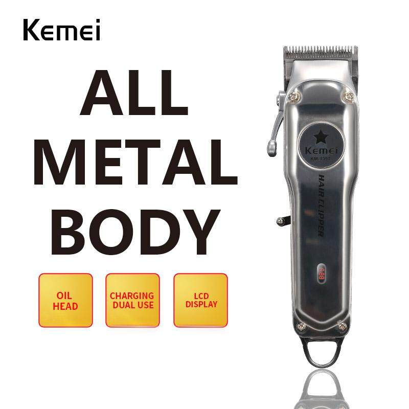 Kemei KM-1996 All Metal LED Electric Electric Hair Clipper Professional Hair Clipper for Men Cut Hair Cutting Machine Haircut Compatible for Wahl Barber