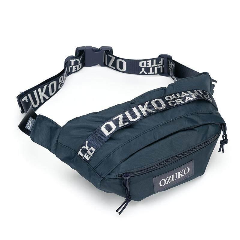 OZUKO New Luxury Men Waist Bag Pack Casual Sport Belt Bags Red Chest bag  Man Sling 1a5fc4e50a47c