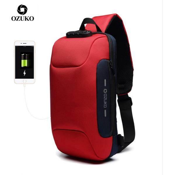 OZUKO Túi đeo chéo khóa TSA chống trộm mới túi đeo vai du lịch đa năng túi đeo chéo chống nước sạc USB