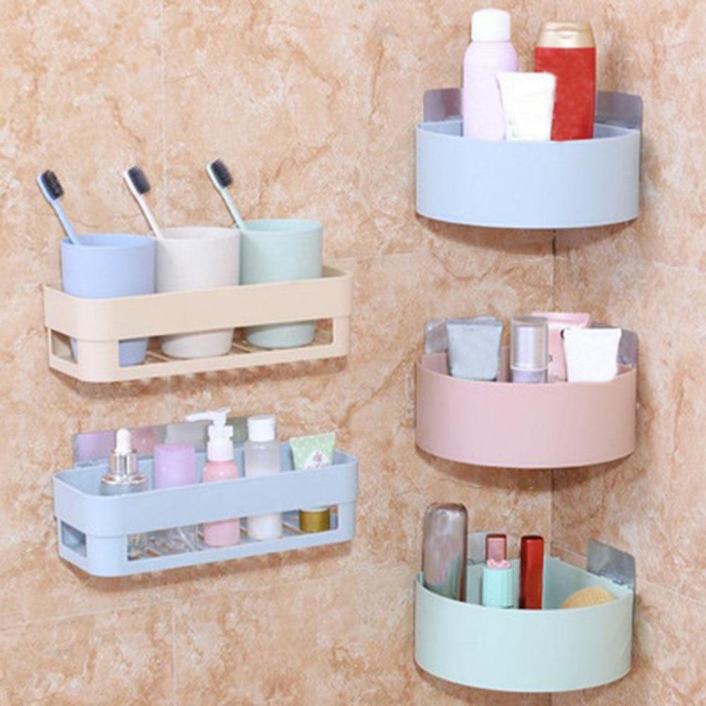 Sticky Hook Shampoo Organizer Corner Storage Rack Shower Holder Bathroom Shelf