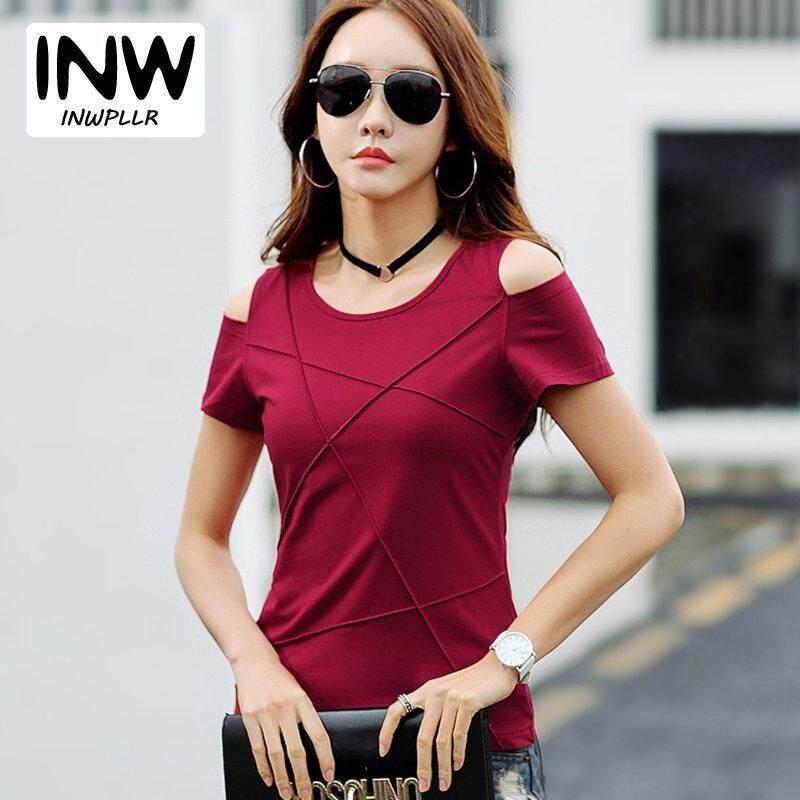 d70b9e033a4 INWPLLR New Summer Wear T shirt Women Tshirts Korean Fashion Open Shoulder T -shirt Female