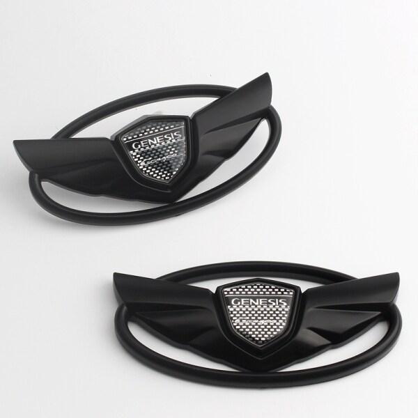 2 Miếng Dán Biểu Tượng Phía Trước Phía Sau Cho Hyundai Rohens Genesis Coupe Wings Logo Đầu Đuôi Thân Cây Biểu Tượng Màu Đen Mờ Huy Hiệu Mark Điều Chỉnh Nhãn