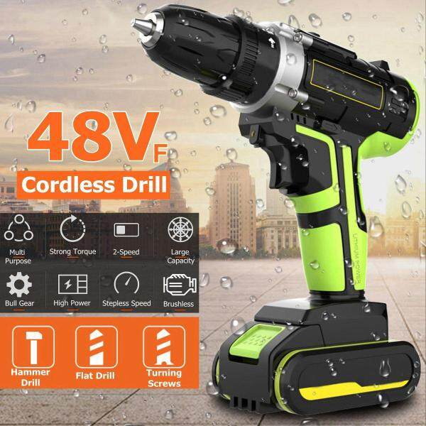 Elfeland 48V 25+1 Torque 50Nm Double Speed Brushless Cordless Electric Drill Screwdriver (with LED light ) ( with 28pcs Drill Accessories )