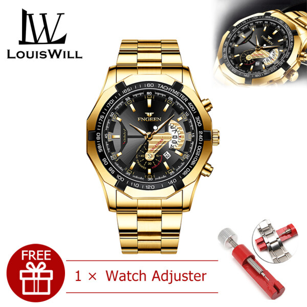 LouisWill Men Casuals Fashion Watches Quartz Watches Business Wristwatches 3ATM Waterproof Watches Stainless Steel Mesh Strap Luminous Pointers Wrist Watches with Calendar for Men Malaysia