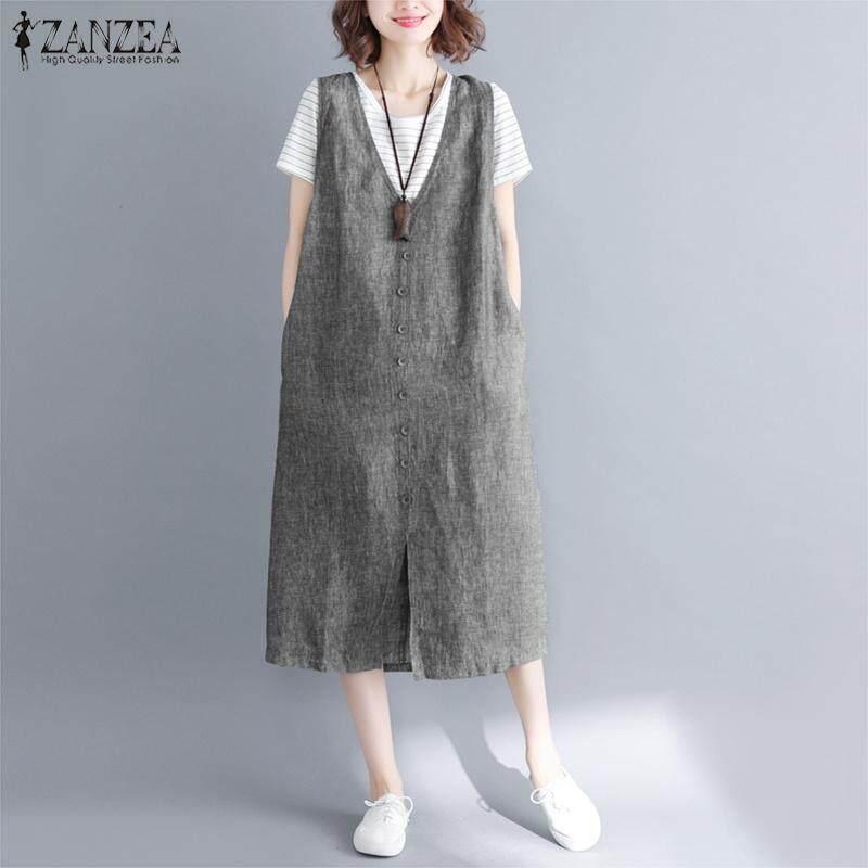 08bd1493e7a27 ZANZEA Womens Summer Sleeveless Straps Casual Baggy Bib Dress Overalls Plus  Size