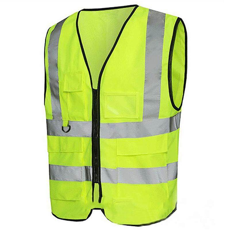Multi-Pocket Reflective Vest Reflective Clothing Fluorescent Yellow Vest For Riding And Running