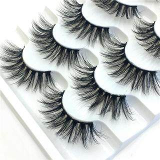 Malonestore Makeup Mewah 5 Pasang 3D Bulu Mata Palsu Berbulu Strip Bulu Mata Pesta Panjang Alami thumbnail