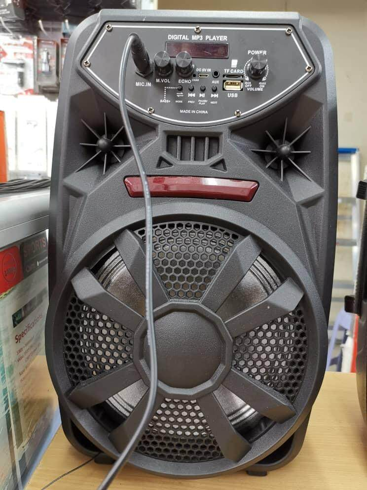 8 inch Rechargeable Bluetooth Karaoke Speaker System AUX Cable Supports  Bluetooth Microphone USB FM Stereo Radio