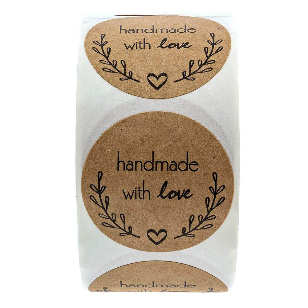 """2/"""" Homemade with Love Sticker with Lines for Writing //2/"""" Round Homemade"""