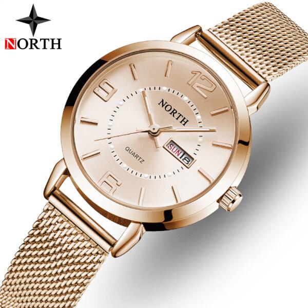 NORTH Womens Watches Brand Luxury Mesh Steel Belt Quartz Clock Fashion Dark Night Simple Date Display Lady Gift Wife Women Watch Malaysia