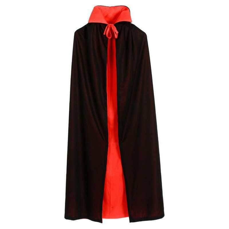 Free Eye Mask + 140CM Halloween Vampire Cloak for Adult Party Costume Double-sided Cloak Black Red