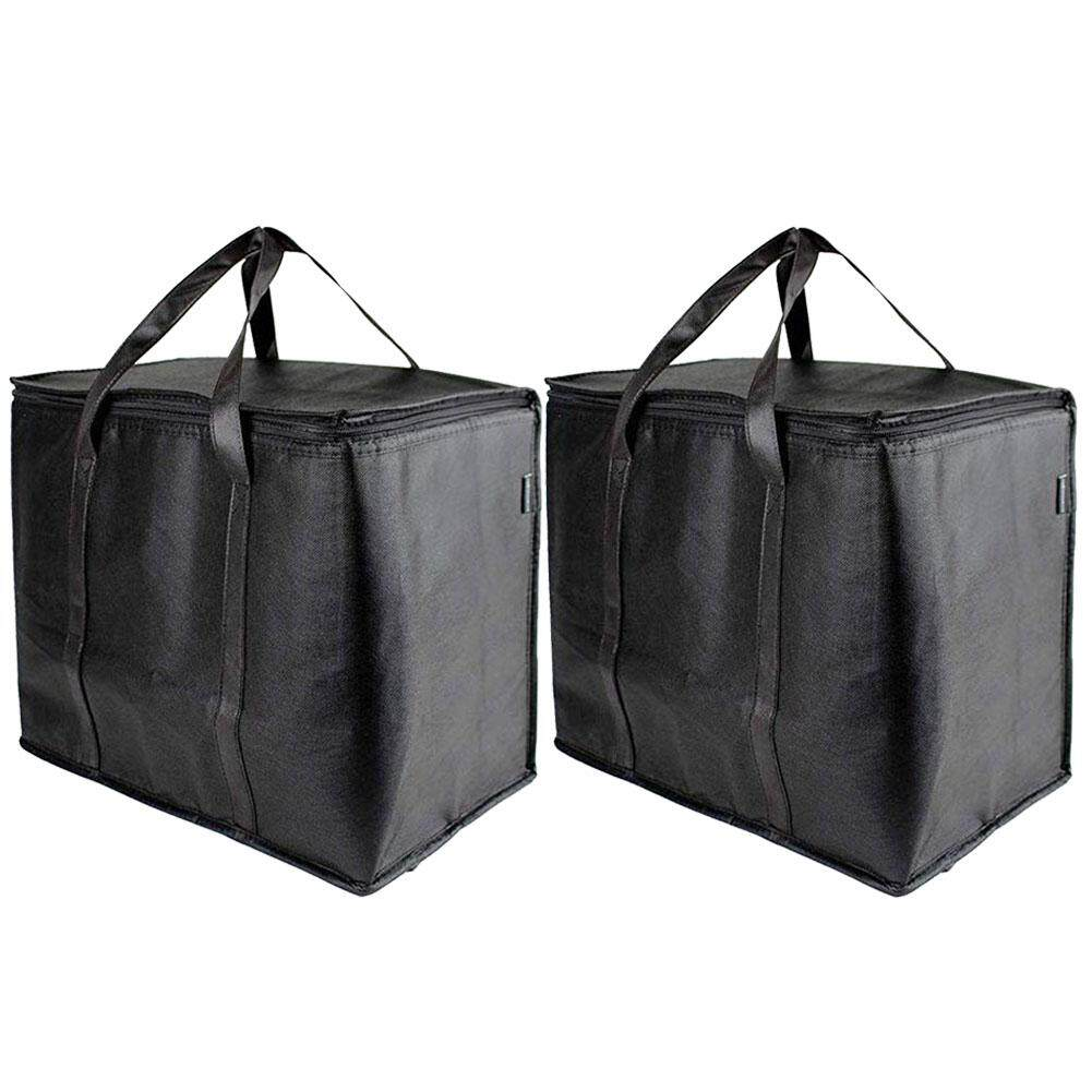 2PCS Shopping Washable With Handle Foldable Reusable Non-woven Reinforced Bottom Portable Large Capacity Heavy Duty Free Standing Sturdy Zipper Storage Insulated Grocery Bags