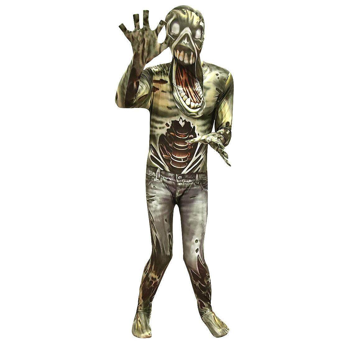 Cosplay Costume Party Clothing Zombie Bodysuit with Cap Mask for Kids Unisex