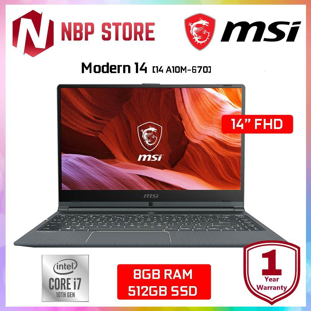 MSI Modern 14 A10M-670 14  FHD IPS Laptop Grey ( i7-10510U, 8GB, 512GB SSD, Intel, W10 ) Malaysia