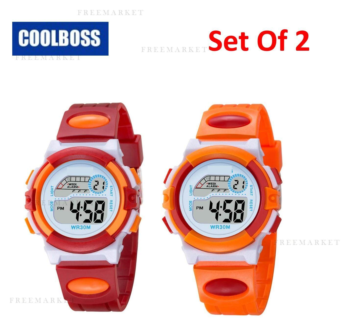 [SET OF 2] COOLBOSS Brand Electronic Sport Student Children Watch Kids Watches Boys Girls Clock Child Malaysia
