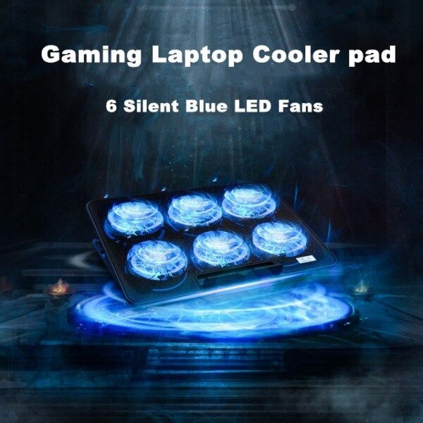 Laptop Cooler Pad Gaming Laptop Cooler Notebook Cooling Pad 6 Silent Blue LED Fans Powerful Air Flow Portable Adjustable Laptop Stand Malaysia