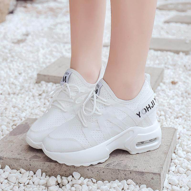 4955d8f124 Womens High Wedge Platform Hidden Heels Mesh Sneakers Lace Up Trainers
