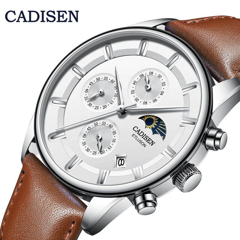 CADISEN Top Brand Watches For Men Quartz Movement Multifunction Luxury Phase Of The Moon Fashion Style Calendar Window Second Timer 30M Waterproof Leather Band Wristwatch Malaysia