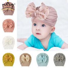 Mũ Em Bé Có Nơ Lớn Sáng Bóng Mũ Turban Màu Trơn Đáng Yêu Cho Bé Trai Bé Gái Mũ Beanie Cotton Mềm Cho Trẻ Sơ Sinh Trẻ Mới Biết Đi