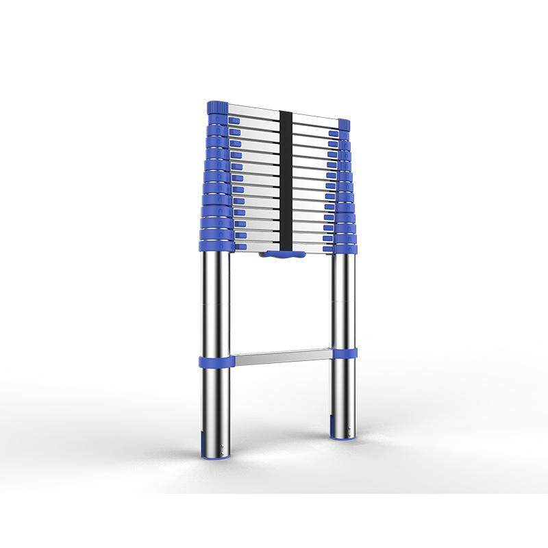 European standard 2m telescopic ladder European standard blue thick aluminum alloy engineering ladder Household folding ladder portable lifting straight ladder
