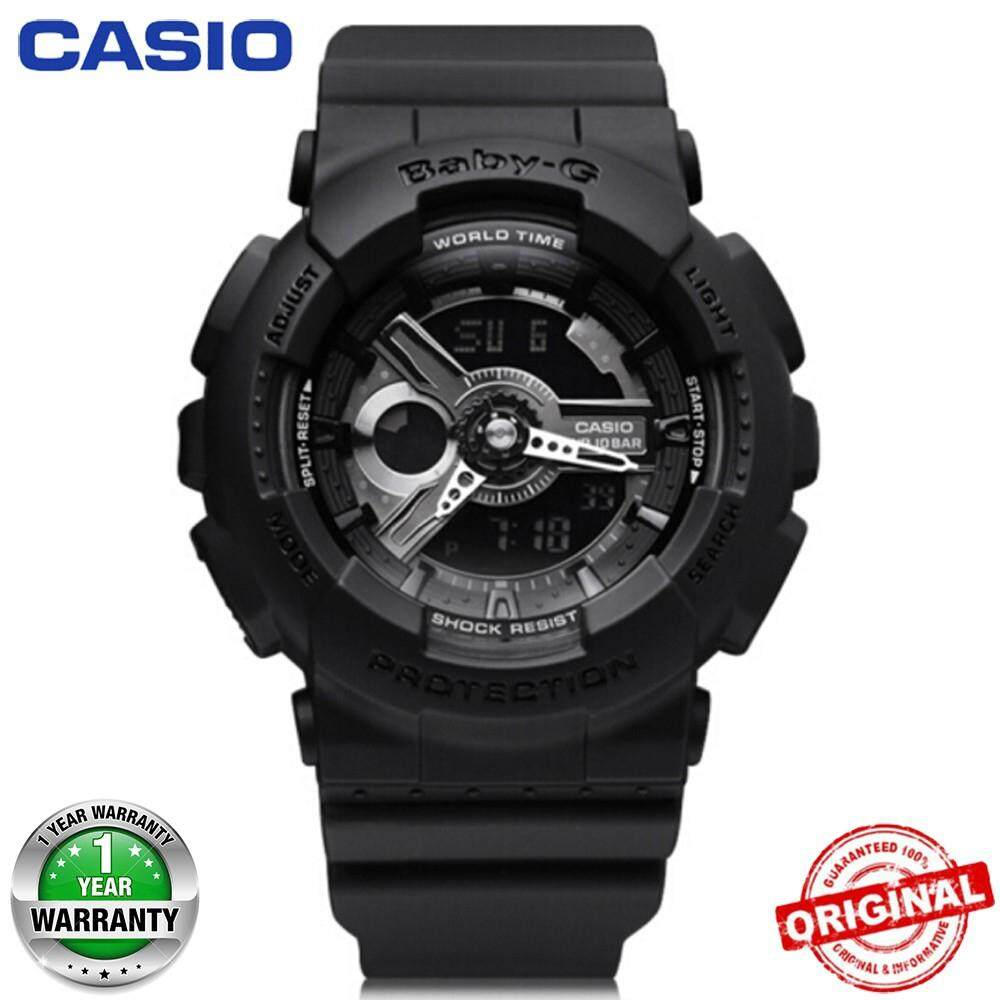 (Hot sale)100% Original Casio Baby-G BA110 Black Color Girls Wrist Watch Women Sport Malaysia