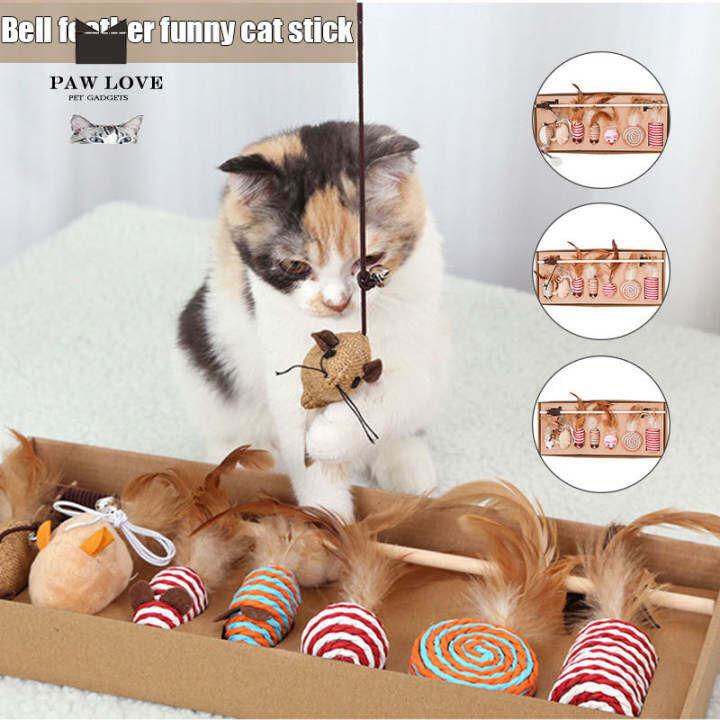 Mainan Kucing Mainan Kucing Mainan Kucing Bulu Teaser Mainan Loceng Untuk Kucing Puppy Kitty Kucing 7pcs Set Lazada