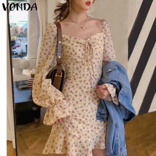 (Phong Cách Hàn Quốc) VONDA Đầm Sơ Mi Nữ In Hoa Đầm Dáng Dài Tay, Áo Tắm Nắng Thường Ngày Chữ A thumbnail
