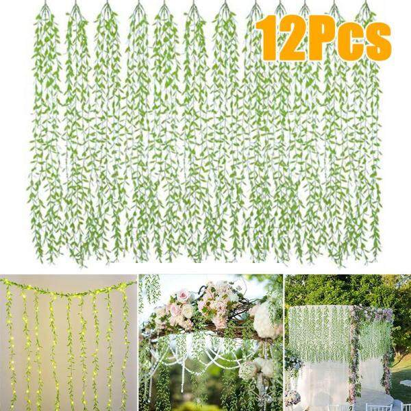 SensoDaily 12pcs Artificial Vines Wedding Home Decoration Hanging Garland Willow Leaves