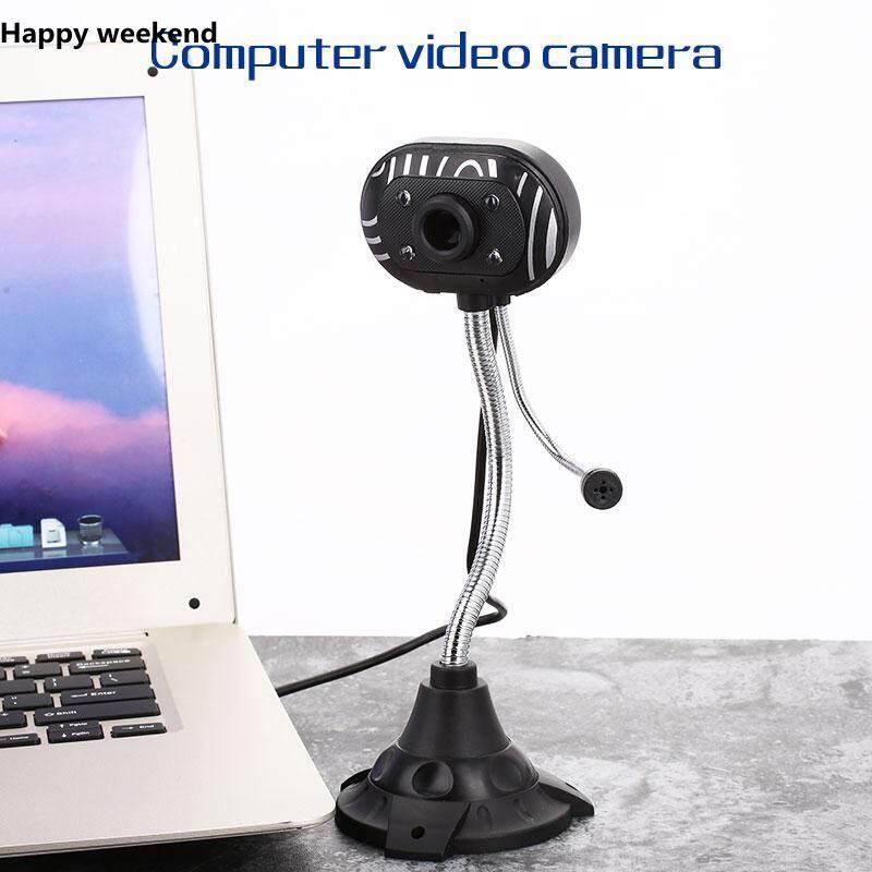 [Happy Weekend] Kamera Notebook Komputer Webcam Kamera usb2.0 4 LED Laptop W/Mic Modus Malam PC Rumah Pemantauan Fotografi Monitor
