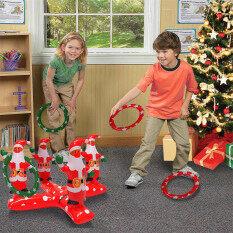 Foctroes Inflatable Vòng Toss Trò Chơi Santa ClausThrowing Đồ Chơi Với 4 Nhựa Ring Toss Bán Chạy Nhất