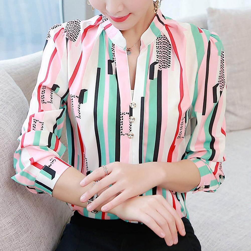 86a3e0a5d53 [YP-HooWoo.MY]Women Shirt Stripe Long Sleeve Tops Ladies Blouse Casual  Chiffon T- shirt