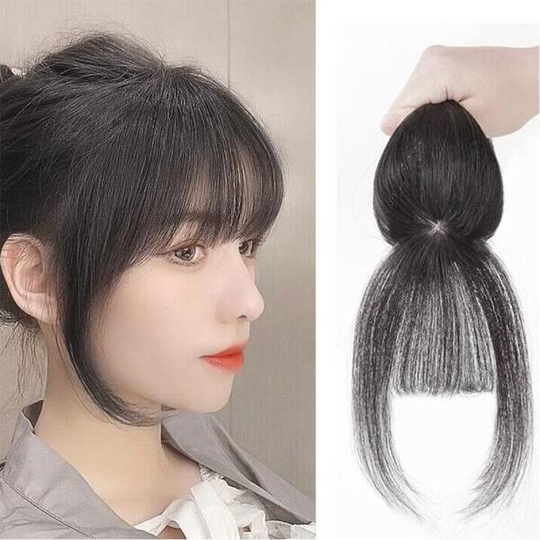 ZICHAOJ Phụ nữ Tự nhiên Sợi nhiệt độ cao Sợi tổng hợp Kẹp trong Phần mở rộng tóc Tóc mái giả Tóc mái Kẹp tóc 3D Air Bangs giá rẻ