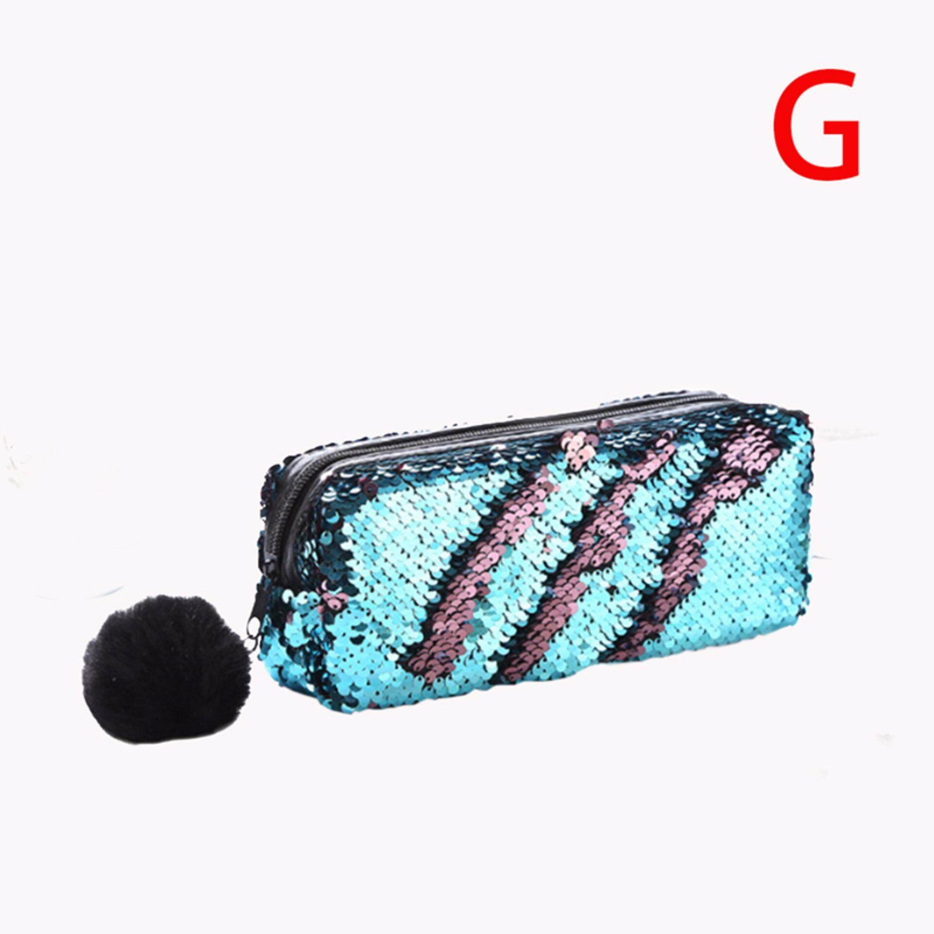 Butterfly House Women Mermaid Sequin Glitter Cosmetic Bag Pencil Box Coin Purse Makeup Case By Butterfly Flying.